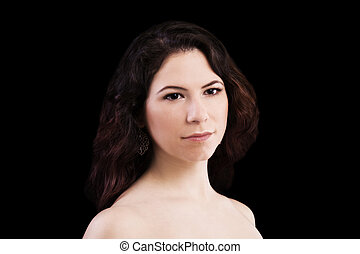Bare Shoulder Portrait Of Young Caucasian Woman Dark Background