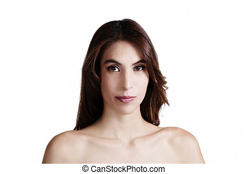 Bare Shoulder Portrait Skinny Attractive Latina Woman