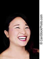 Bare Shoulder Portrait Smiling Japanese American Woman