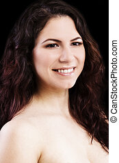 Bare Shoulder Smiling Portrait Young Caucasian Woman