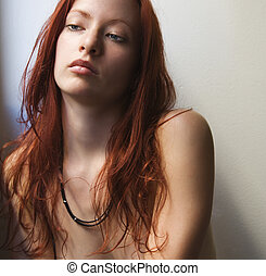 Bare skin woman. - Pretty redhead bare young woman portrait...