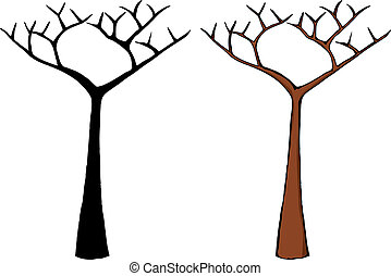 Bare Tree - Cartoon of a dead tree isolated over white
