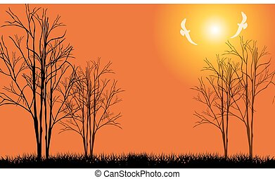 Bare tree with flying birds-Vector