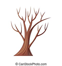 Bare Tree Without Leaves. Oak. Vector - Vector tree. Oak...