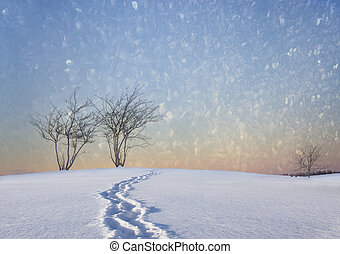 Bare trees in winter landscape with track of shoes and...