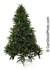 Bare Undecorated Christmas Tree - A bare undecorated green...