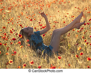 Barefoot blonde in poppies - Beautiful Barefoot blonde lady ...