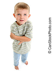 4 year old boy with blonde hair standing barefoot over white.