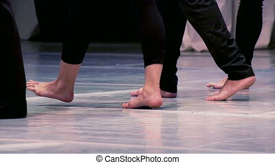 Barefoot Dancers - Men in Black Clothes go Barefoot in a...