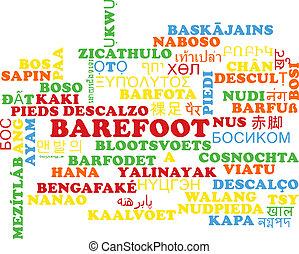 Barefoot multilanguage wordcloud background concept
