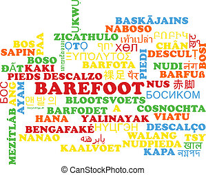 Barefoot multilanguage wordcloud background concept -...