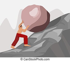 Barefoot strong guy climb up rock carry move to goal vector flat illustration. Athletic male hero useless work hard have difficulties sisyphus labor big limbs style isolated on white background
