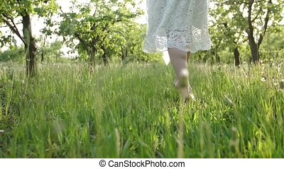 Barefoot woman's legs walking on green grass - Closeup of...