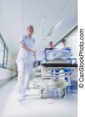 barella, paziente, emergenza, ospedale, offuscamento movimento, gurney