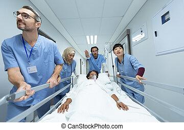 barella, squadra, emergenza, corridoio, letto, spinta, medico