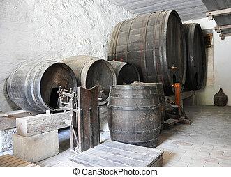 barels, cave, vieux, vin