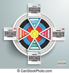 barevný, infographic, 4, čtverhran, trojúhelník, plán
