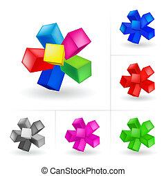 barevný, trojmocnina, abstraktní