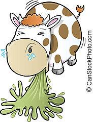 barfing, vaca, vomitar