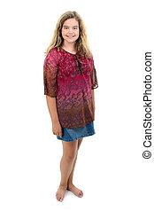 barfodede, 12, gammel år, pige