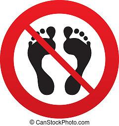 barfota, nej, symbol., underteckna, mänsklig, fotspår, icon.