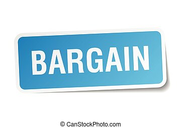 bargain blue square sticker isolated on white