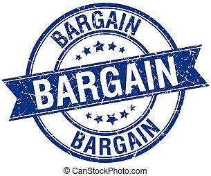 bargain grunge retro blue isolated ribbon stamp