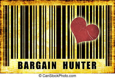 Bargain Hunter Budget Shopper on Grunge Abstract