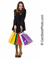 Bargain hunter - Full body of an attractive young brunette...