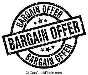 bargain offer round grunge black stamp