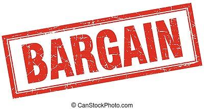 bargain red square grunge stamp on white
