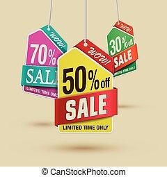Bargain sale discount label template design in multiple...