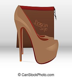 Bargain Sale - Illustration of a shoe and a paper bag with...