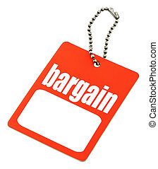 Bargain tag with copy space isolated on white, there is no copyright infringement