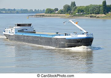 "Barge - A barge in Antwerp on The river ""Schelde""."
