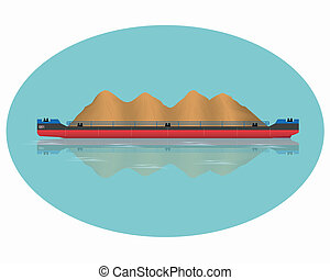 A barge loaded with sand. Vector illustration. Eps 10.