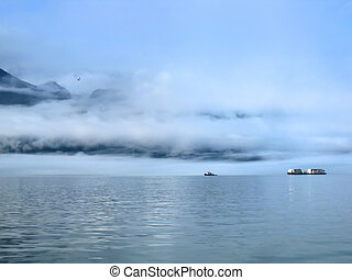 Barge and Ship Plow Waters of Valdez Bay - Barge and Ship ...