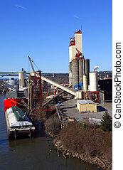 barge., elevador del grano, y