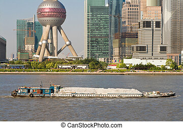 Barge Huangpu River Downtown Shanghai Far Bank Pudong TV...