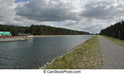 Barge in the Havel canal in Brandenburg. On the way to the...