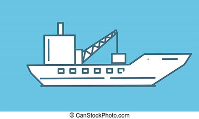 Barge line icon is one of the Ships icon set. File contains alpha channel. From 2 to 6 seconds - loop.