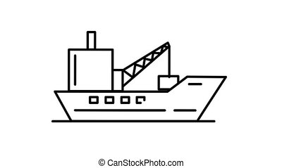 Barge line icon is one of the Transportation icon set. File contains alpha channel. From 2 to 6 seconds - loop.
