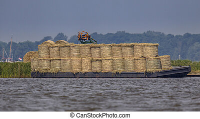 Barge loaded with hay