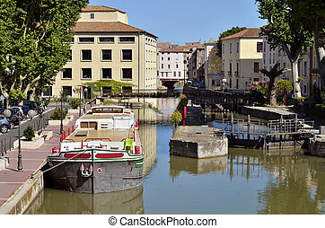 Barge on canal at Narbonne in Franc - Barge on canal of the...