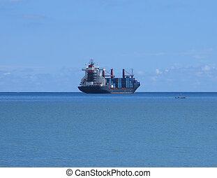 Barge on horizon