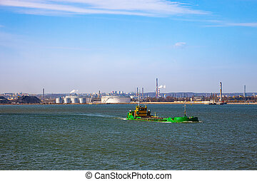 Barge on sea