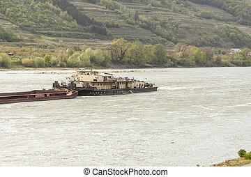 Barge on the Danube River - Austria