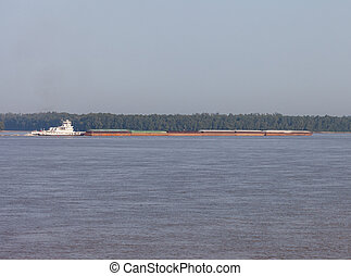 Barge on the Mississippi River
