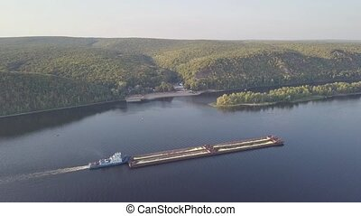 Barge river aerial