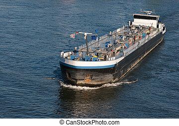 Barge river - Tanker barge on the German Rhein river.
